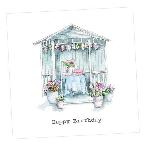 Blue Summerhouse Birthday Card