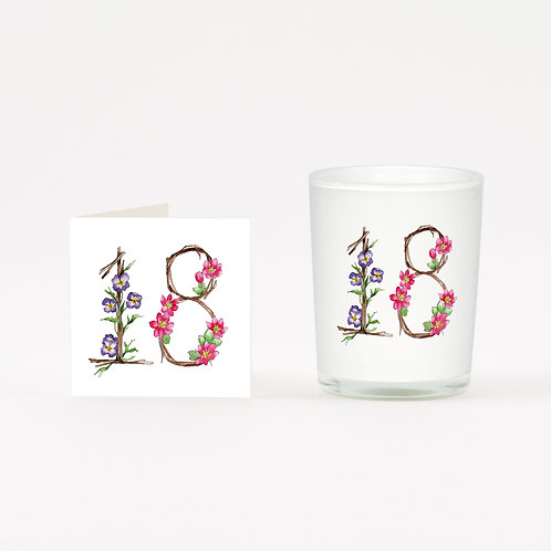 Floral 18 Boxed Candle & Card