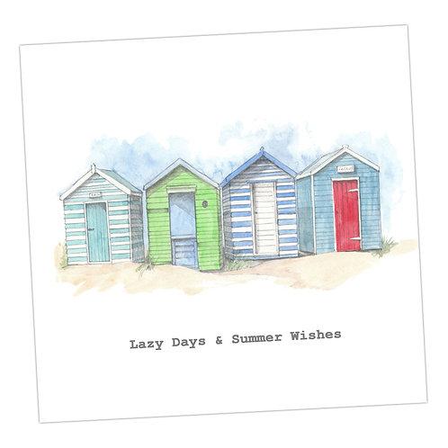 Beach Huts Lazy Days... Card