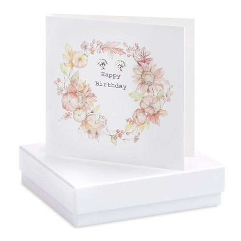 Boxed Earring Card Autumnal Wreath Happy Birthday
