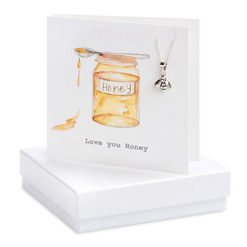 Boxed Honey Pot & Bumble Bee Necklace Card