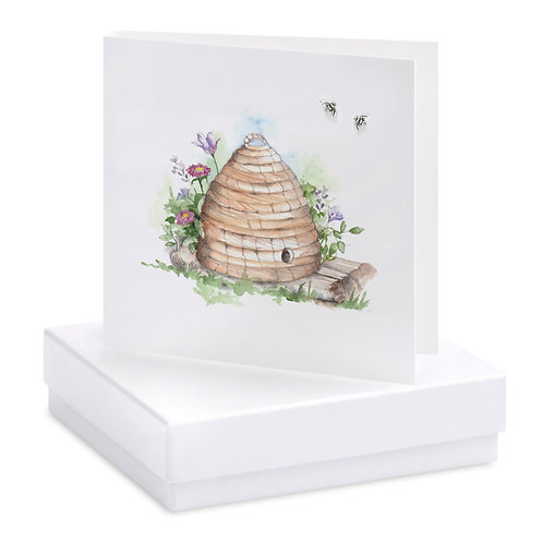 Boxed Straw Beehive Earring Card