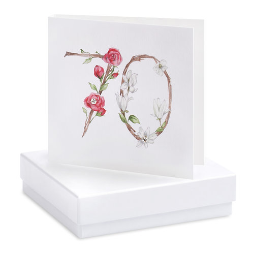 Boxed Floral 70th Earring Card