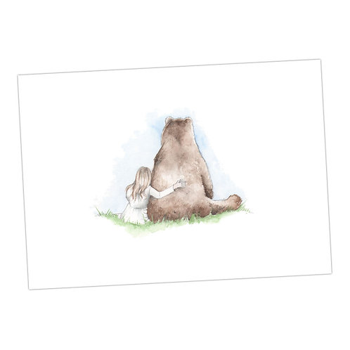 Bear & Little Girl Print