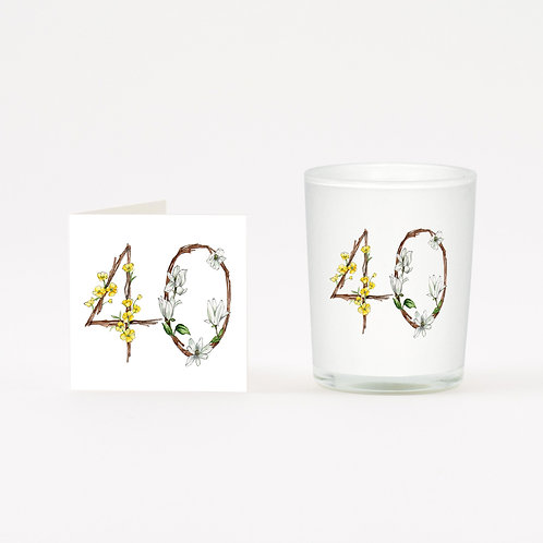 Floral 40 Boxed Candle & Card