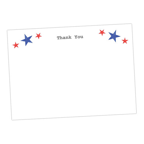Red and Blue Star Note Card