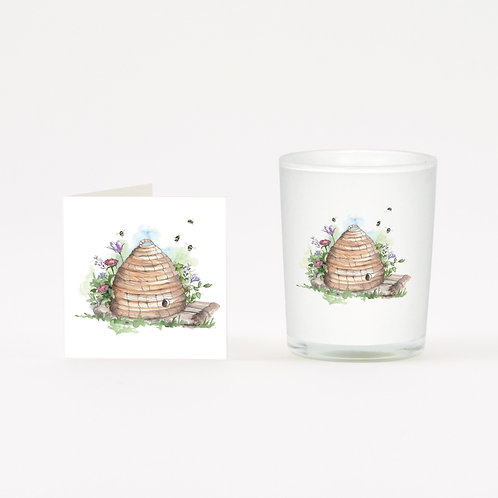 Straw Beehive Boxed Candle & Card