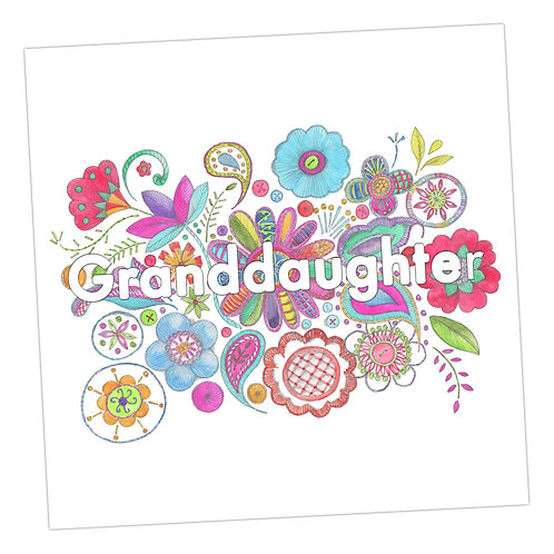 Embroidered Granddaughter Card