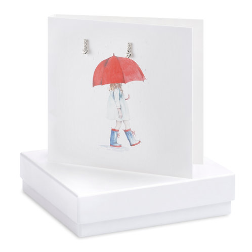 Boxed Earring Card Umbrella Girl