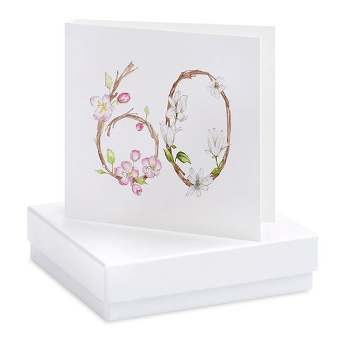Boxed Floral 60th Earring Card