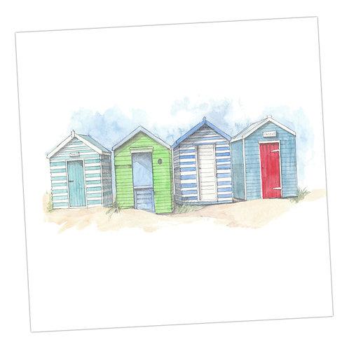 Beach Huts Blank Card