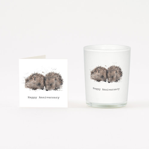 Hedgehogs Anniversary Boxed Candle & Card
