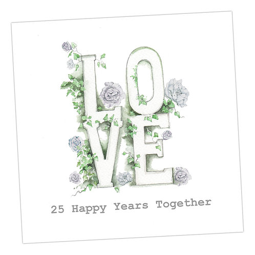 Love Letters 25th Anniversary Card