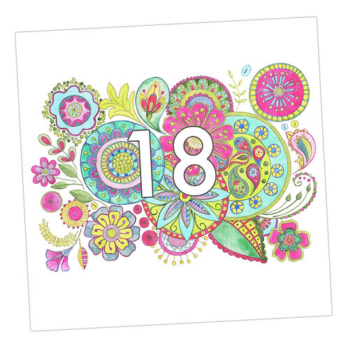 Embroidered 18th Card