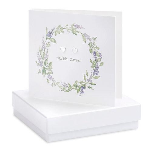 Boxed Lavender Wreath Earring Card