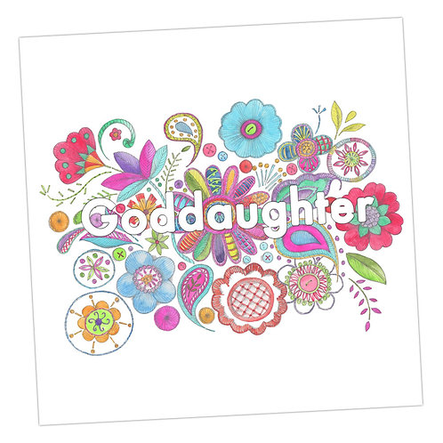 Embroidered Goddaughter Card