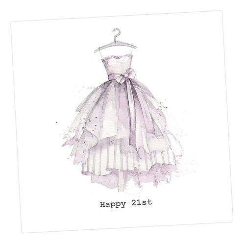 Party Dress 21st Birthday Card