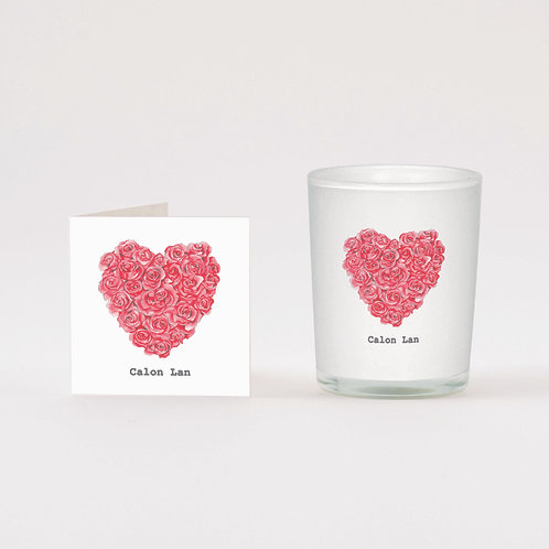 Welsh Calon Lan Boxed Candle & Card
