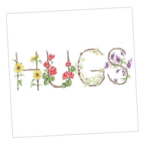 Floral Letters Hugs