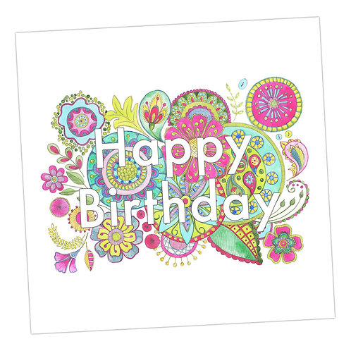 Embroidered Happy Birthday Card