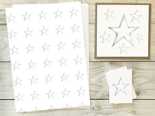 Star Gift Wrap & Tag Pack