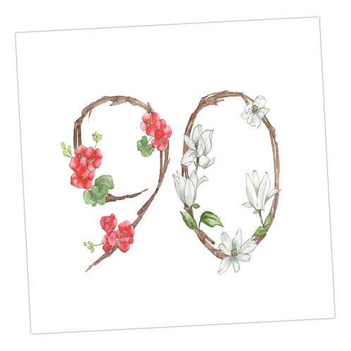 Floral Numbers 90th Card