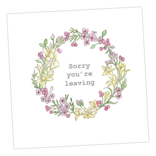 Sorry You're Leaving Wreath Card
