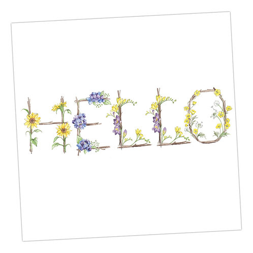 Floral Letters Hello