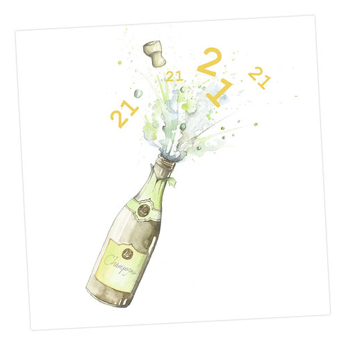 Champagne 21st Card