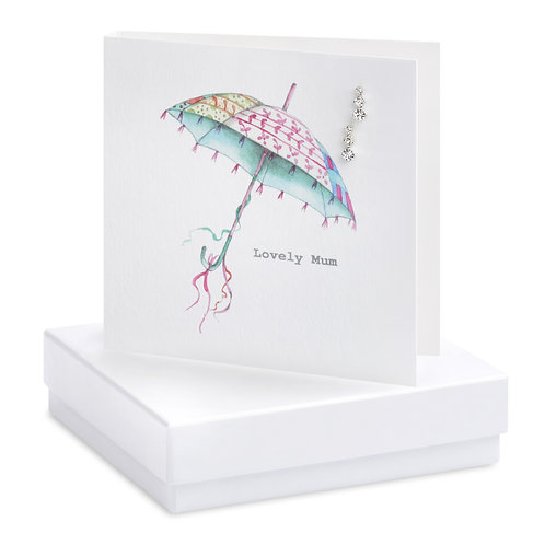 Boxed Umbrella Mum Earring Card