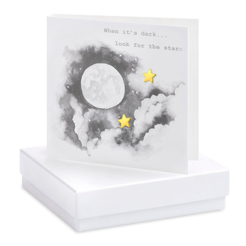 Boxed Earring Card Moon & Stars B&W When its dark look for the stars