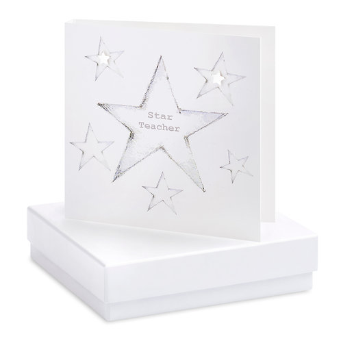 Boxed Star Teacher Earring Card