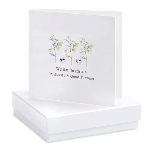 Boxed White Jasmine Earring Card