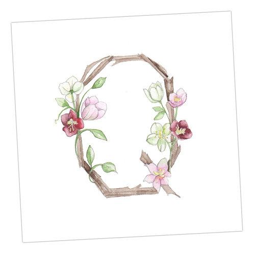 Floral Letters Q