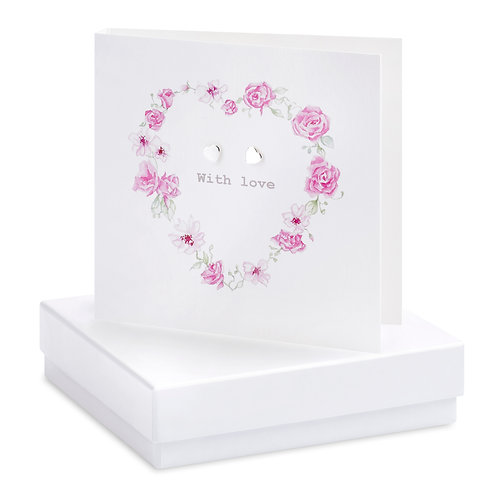 Boxed Floral Heart Earring Card