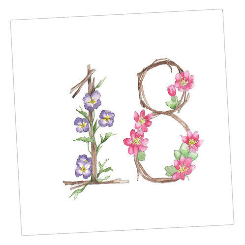 Floral Numbers 18th Card