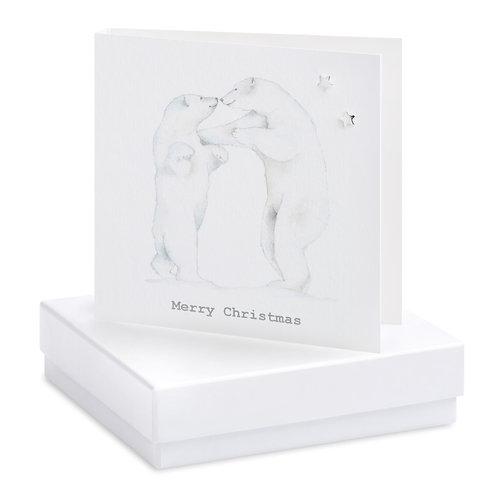 Boxed Christmas Polar Bear Earring Card