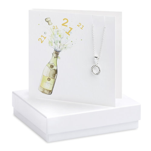 Boxed Champagne 21st Cubic Zirconia Necklace Card