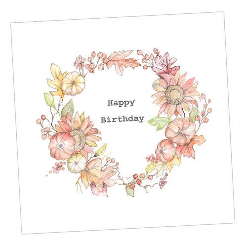 Autumn Wreath Birthday Card