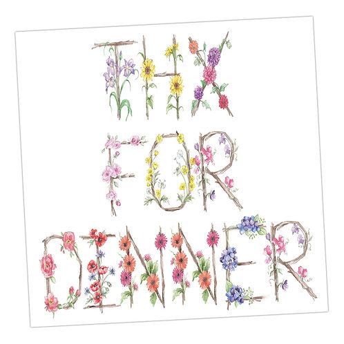 Floral Letters Thx for Dinner