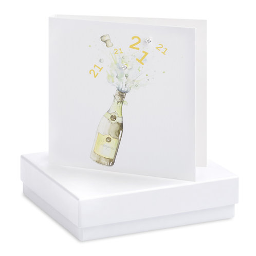 Boxed Champagne Bottle 21st Earring Card