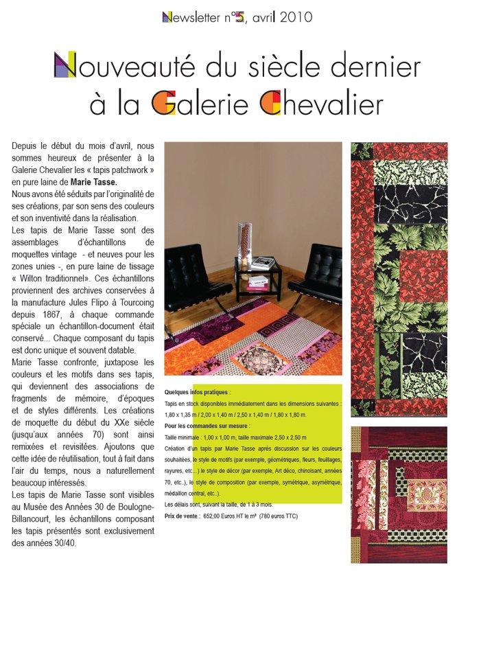 Newsletter de la Galerie Chevalier