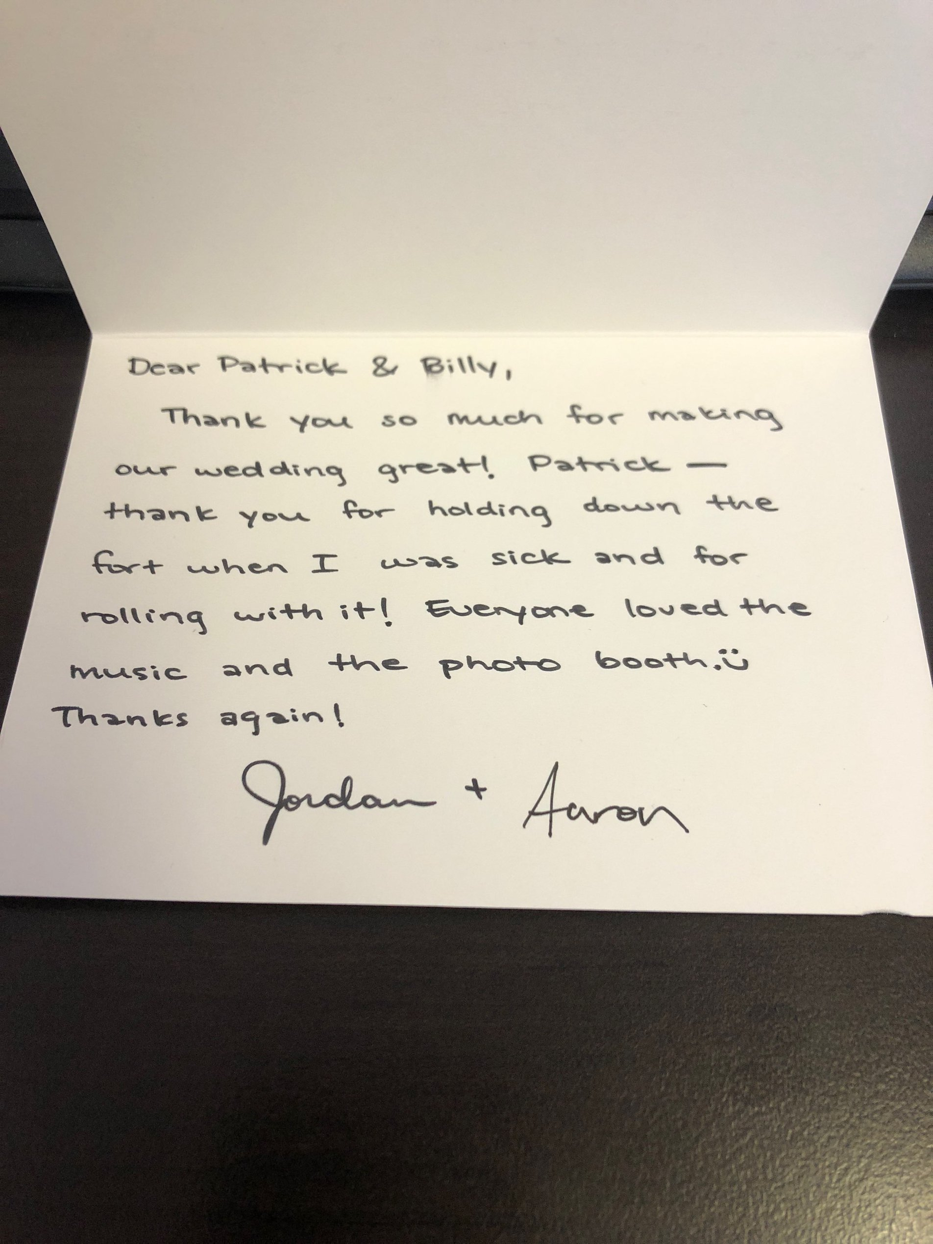 Aaron + Jordan Thank you note