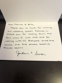 Aaron + Jordan Thank you note