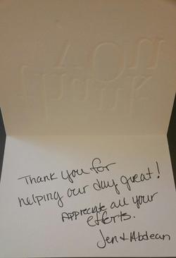 Tiffany & Gina Thank You Note