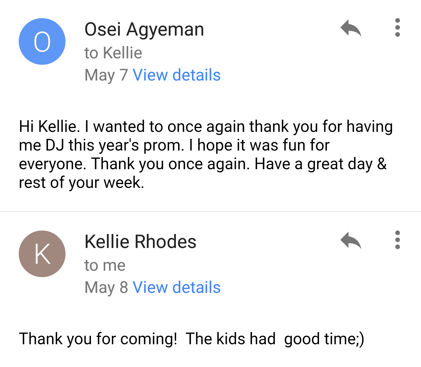 Kellie Thank You Note