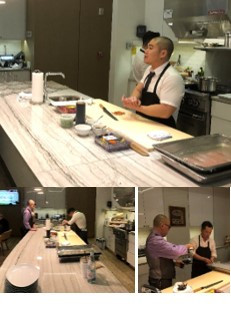 The top chefs. Jimmy Liang (top) & Ming Cao (below) prep their trout-based delicacies.