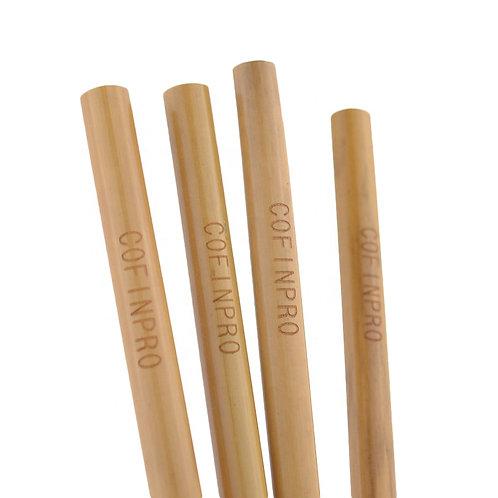 4 Pailles en bambou personnalisées - 15 ou 20 cm