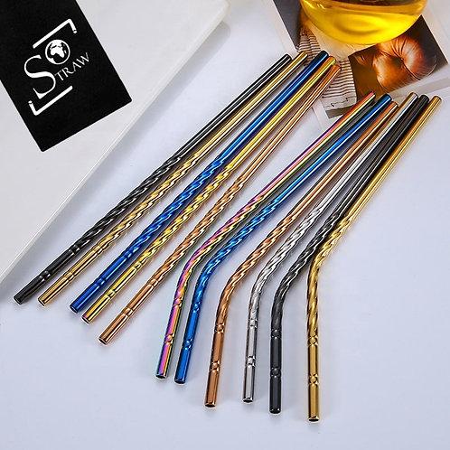 Set de 6 pailles 'Spirales' en inox - Droites ou Courbées