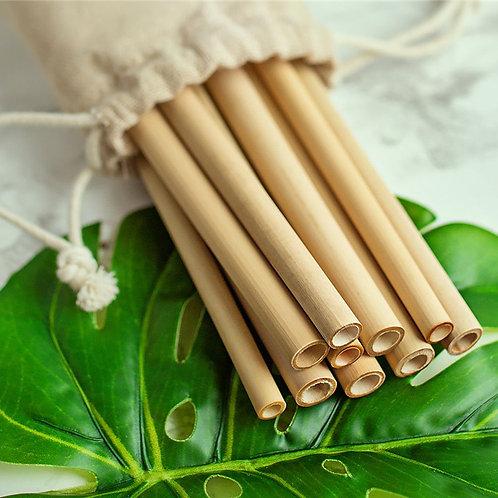 8 Pailles en bambou 20 cm
